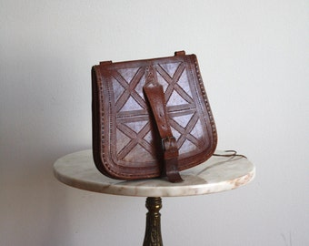Leather Bag Brown Detailed Hippie Suede Purse - 1970s VINTAGE