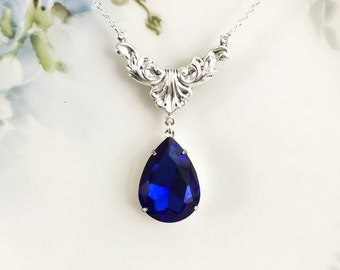 Sapphire Necklace Sapphire Blue Glass Rhinestone Necklace Art Deco Style Jewelry September Birthstone Wedding Something Blue Prom Plus Size