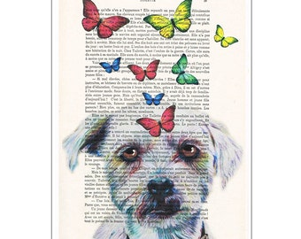 Doggy with butterflies 2: Drawing Illustration Giclee Prints Posters Mixed Media Art Acrylic Painting Wall art wall decor puppy print