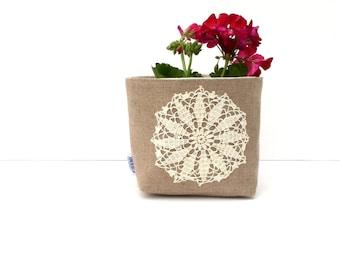 Linen Burlap Basket Vintage Doily Medium - Rustic Storage Bin - Burlap Bucket - Burlap Wedding Decor