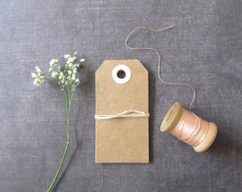 Kraft Tags, Cream Reinforced Holes, Gift Tags, Party Favor Tags, Weddings, Showers, Rustic, Set of 20