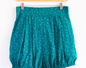 RESERVED FOR LANA: Teal Dot and Crackle Bloomer Short, Soft Rayon Cotton Blend Shorts,Vintage High Waisted Print Short