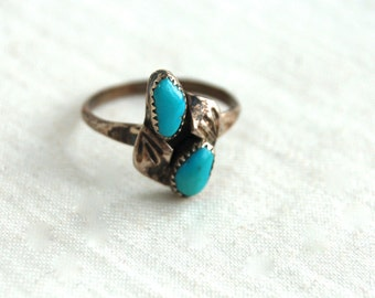 Turquoise Ring Size 6.5 Southwestern Vintage Native American Jewelry Boho Gift for Her