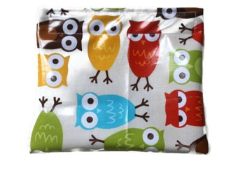 Owl Snack Pouch - Reusable Snack Pouch - Blue Green Yellow White Red Brown