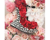 Floral Rhinestone Studded Spike Close Toe Moon Wedge Heel Shoes, wedding shoes, prom shoes, flower shoes, unique shoes, bridals shoes
