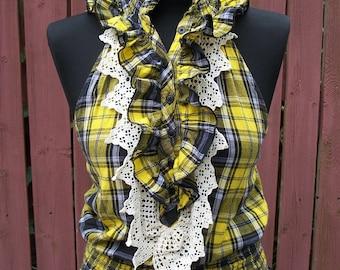 Plaid Halter-Gypsy Clothing-Summer Blouse-Vintage Lace Trim & Ruffles-Concert Clothing-Size Medium