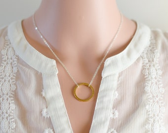 Karma Necklace | Eternity Infinity Necklace | Silver and Gold | Gold Hammered Ring | Sterling Silver Chain | Modern Everyday Jewelry