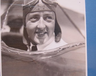 Rare Historic Aviation Albert Bresnik Photograph of Famous Aviator Evelyn Bobbi Trout ~ Unique Gifts for Pilots, The Future is Female