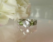Herkimer Diamond and Green Sapphire Engagement Ring