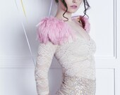 Pink feather shoulder epaulette, feather wings, feather shoulder pieces