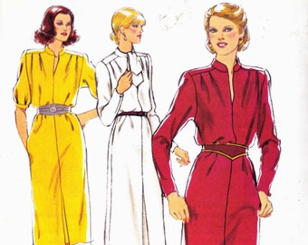 Sewing pattern Style 2840 Straight pullover dress with stand up mandarin collar or tie collar inverted pleat sleeves Size 12 or 14 uncut