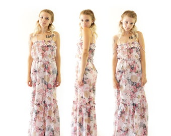 Pink Floral 1970s Ruffle Maxi Dress, 70s Bohemian, 70s Festival, Women's Size Medium
