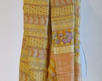 Handprinted Yellow Silk scarf