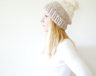 chunky knit slouchy hat beanie pom hat colorblock - linen / fisherman - the SOLOMON