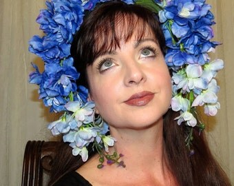 DELPHINIUM BLUE Lovely Tonal Blue Delephinium Fantasy Headdress