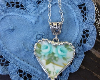 Necklace, Broken China Jewelry, Heart Pendant, Teal Blue Roses