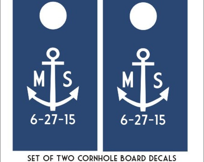 Anchor Cornhole Board Decals Set of Two Decals Personalized Wedding Cornhole Board Decals Custom Date Anchor Nautical DIY Wedding Decals