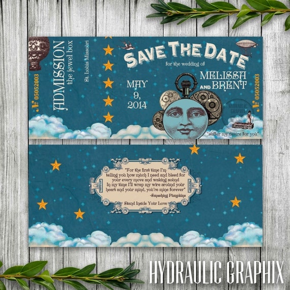 steampunk wedding invitation ticket printable save the date music
