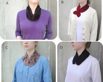 Eight 1 Skein Touch Me Scarves, Easy Knitting Pattern, Cowl Scarf Keyhole Pull Through Neckwarmer, Muench Touch Me