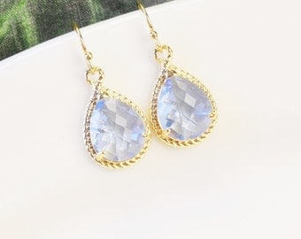 Light Blue Earrings - Gold Blue Crystal Teardrop Earrings - Blue Bridesmaid Earrings - Wedding Jewelry - Bridal Jewelry