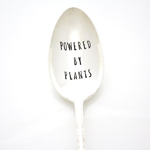 Serving Spoon. Powered By Plants. Hand stamped silverware for healthy living. By Milk & Honey ®