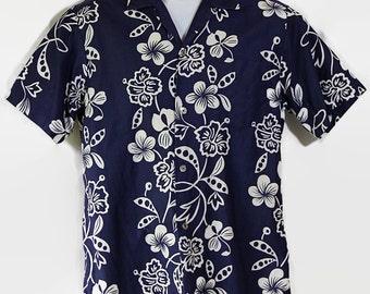 60s 70s Hawaiian Shirt / Andrade / Tropical / Tiki / Luau / Navy Blue