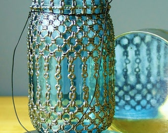 Eclectic Home Decor-Barely Blue Glass Mason Jar Hanging Lantern With Gunmetal Chainmail Design