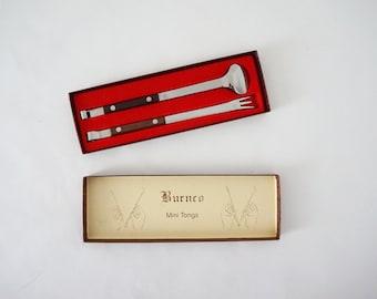Burnco Mini Tongs Pristine in the Box / Ice or Salad Tongs / Danish Modern Serving
