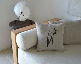 Flower drawing on linen pillow cover hand print - 100% natural linen eco friendly fabric -Beige pillow/ flower pillow hand painted