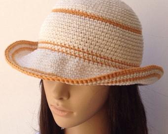 Cotton Floppy Hat.. Crochet Summer Hat .. Women's Sun Hat... Crochet Wide Brim Hat