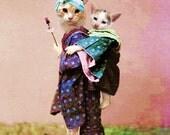 Kyoko- Japanese Cat Print - Anthropomorphic - Canvas Wrap - Cat Art - Kitten Print - Digital Art - Whimsical - Unique Cat Decor