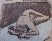 Original Art-Pastel-Charcoal Figure Drawing- Reclining female nude. Large life study. Expressive. Affordable Art. Unique figure study.