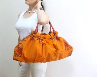 Genuine Leather Handle Tote Bag, Organic Large Hobo Bag, Vibrant colors Floral Triangle Bag, Scarf Bag, Orange Summer Bag