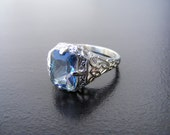 15% Off Sale.S19 Made to Order...Solid Sterling Silver or Solid Gold Antique Filigree Ring with 3 carat Neptune Garden Topaz