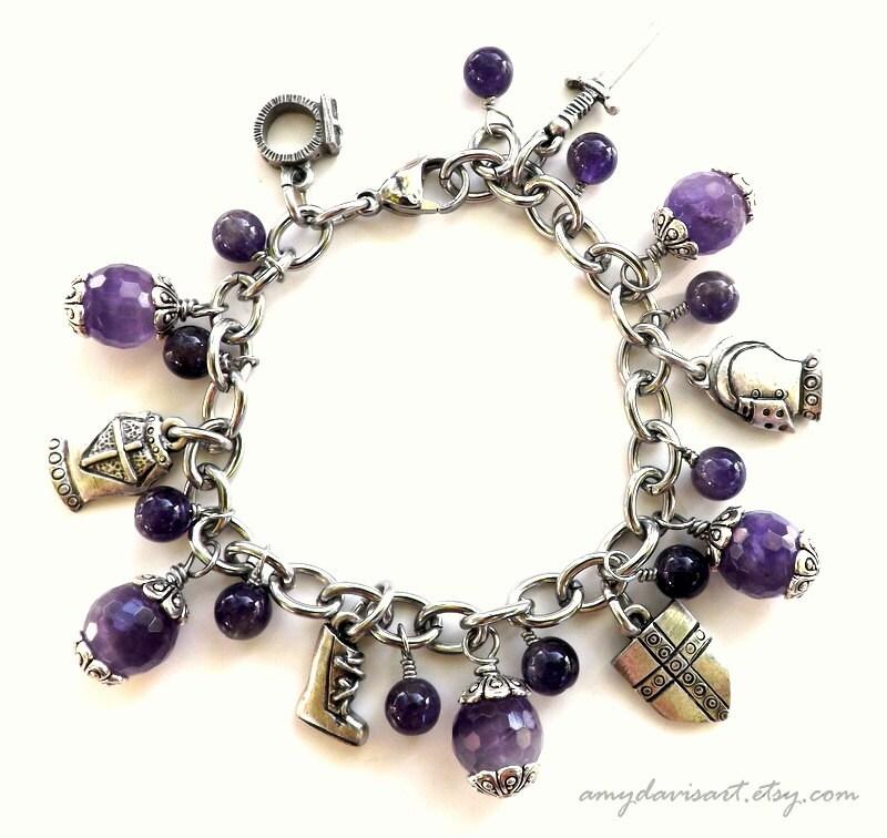 amethyst armor of god charm bracelet purple ephesians 6