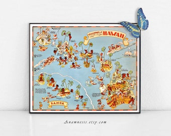 HAWAII MAP Print Digital Download - printable vintage map art for framing, totes, pillows & cards - fun wedding and home decor art