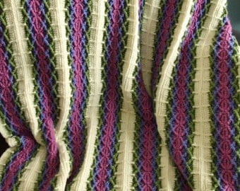 Striped Afghan in Pink, Purple, and Green - Crochet Throw Blanket