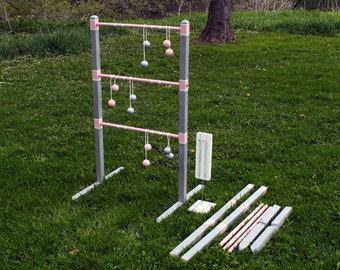Wedding Colours Ladder Ball Game Sets - Color Matched Bolas and Wooden Quick-Assembly Ladders for Easy Storage & Transportation