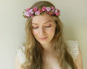 Lavender Fuchsia Roses Flower Crown - Rustic Weddings Bridal - READY TO SHIP