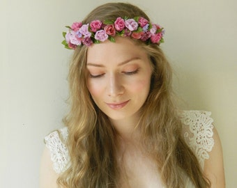 Lavender Fuchsia Roses Flower Crown - Rustic Weddings Bridal - READY TO SHIP