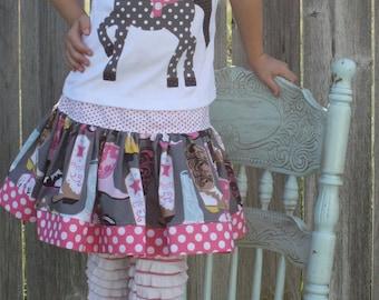 Horse/Pony Birthday Shirt and Skirt