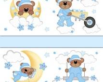 TEDDY BEAR NURSERY Wallpaper Border Decal Boy Woodland Animal Stickers Forest Friends Moon Cloud Star Baby Room Shower Gift Art Decorations