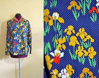1970s Vintage Beene Bazaar Designer Polka Dot and Floral Button Down Top size 12 (ML) bust 38