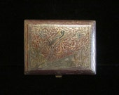 Vintage 1940s WW2 Trench Art Cigarette Case Alpacca Silver and Enamel in Very Good to Excellent Condition