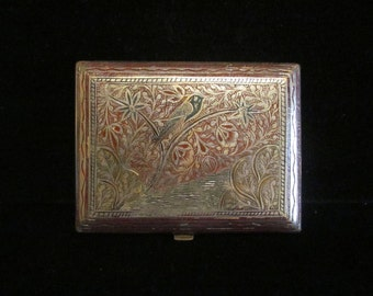 Vintage 1940s WW2 Trench Art Cigarette Case Nickel Alloy and Enamel in Very Good to Excellent Condition
