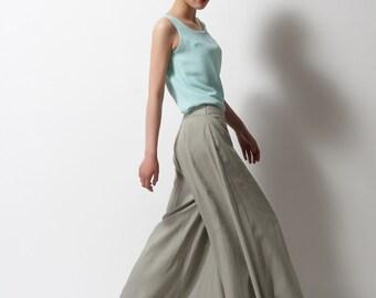 Linen wide leg pants long pants A--wide leg pants in color gray