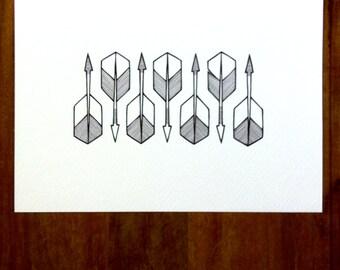 hand drawn arrows art - 'saith' - an original arrow illustration - black and white arrows geometric artwork.