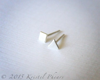 Tiny Geometric Stud Earring - .925 Sterling Silver Square or Triangle dot, Eco-Friendly sterling stud earring, 3mm matte satin QUICK SHIP