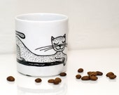 Coffee mug painted Cat cup Hand painted cat tea cup White black cat mug Funny coffee mug Cat coffee cup Mug with cats Black and white mug