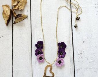 Purple Heart Necklace, Boho Crochet Pendant, Oya Beaded Collar, Golden Flower Choker, Beaded Jewelry, Beadwork, ReddApple